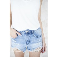 RIPPED PEARLS JEANS - HOTPANTS