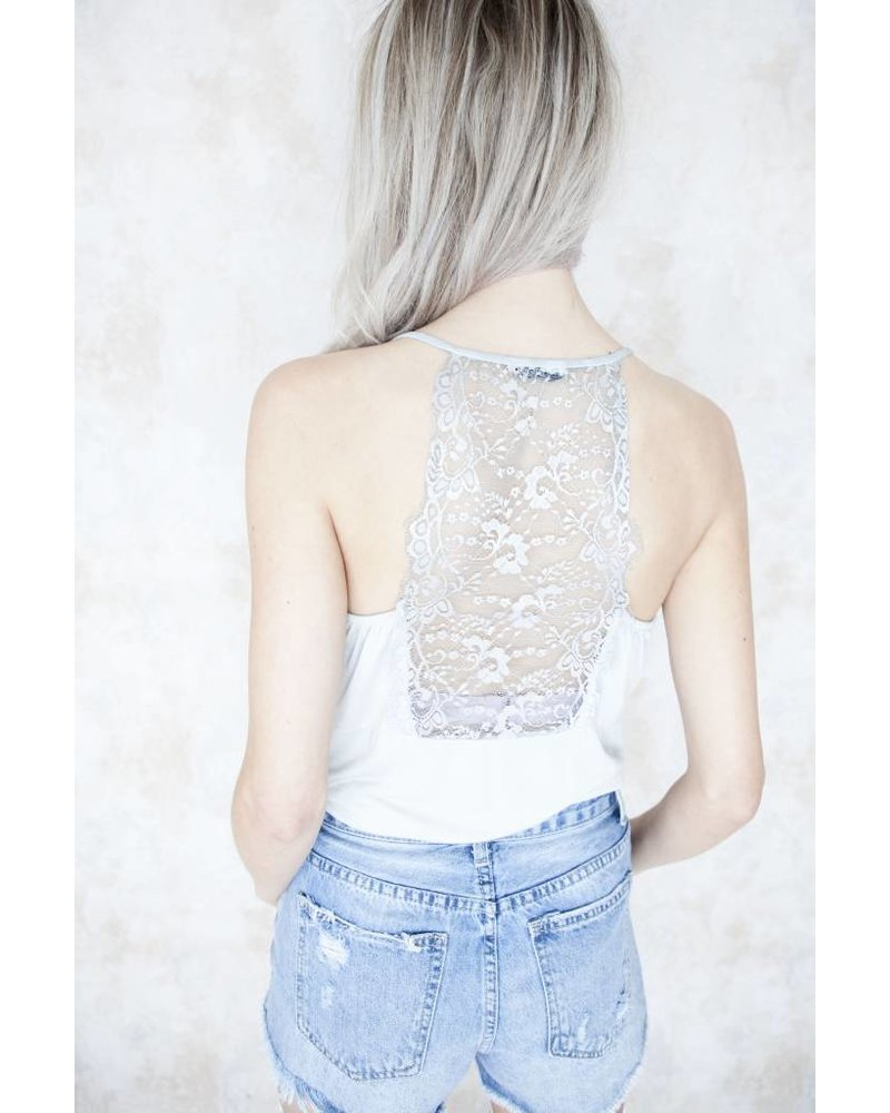 LIZZY LACE SOFT GREY - TOP