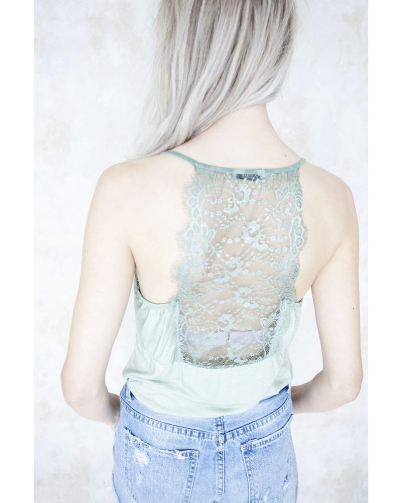 LIZZY LACE OLIVE GREEN - TOP