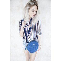 LUNA STRIPED ORANGE - BLOUSE