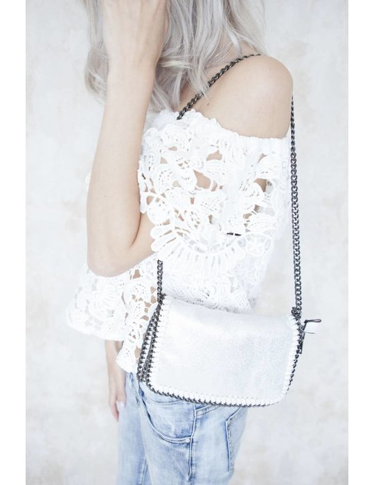 CHAIN BAG MINI SHINY WHITE