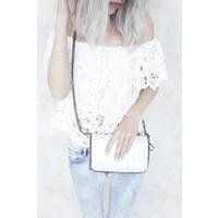 CHAIN BAG MINI SHINY WHITE - HANDTAS