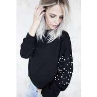 COMFY WITH PEARLS BLACK - SWEATER