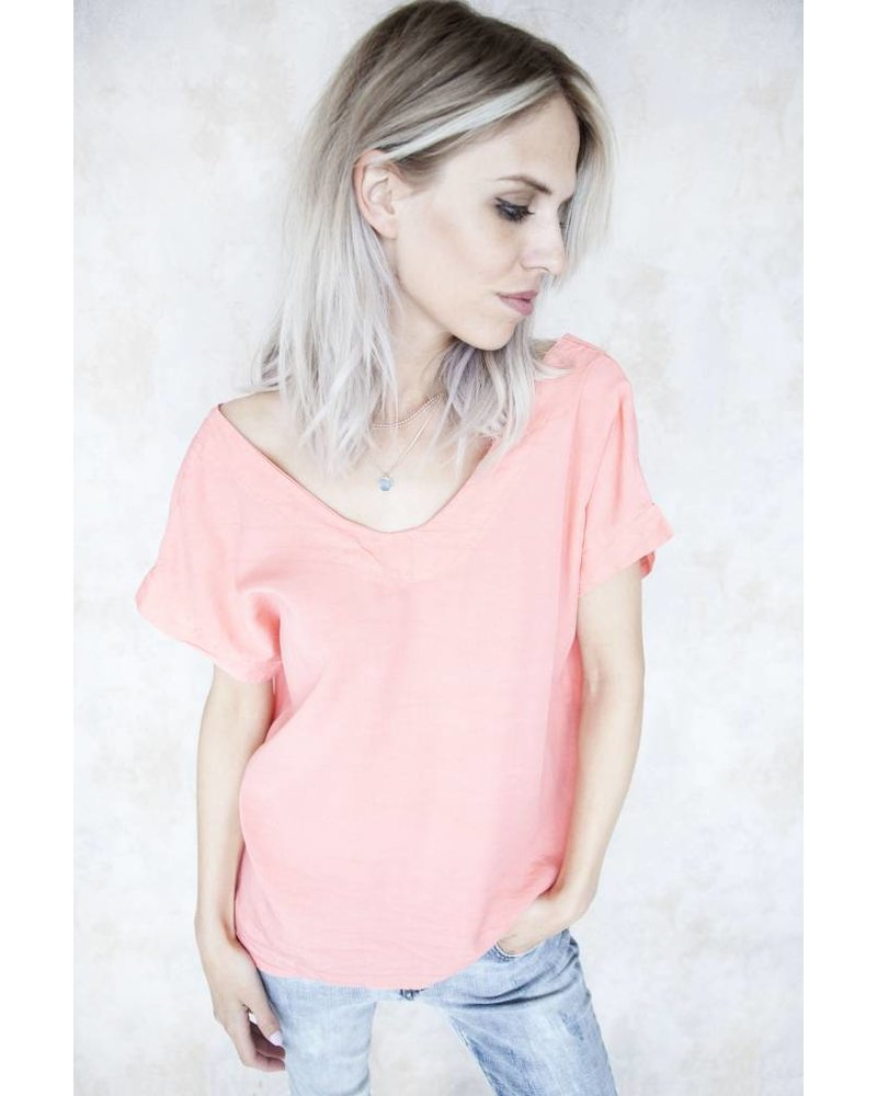 LACED UP BACK CORAL - T-SHIRT