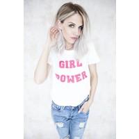 GIRL POWER WHITE/PINK - T-SHIRT
