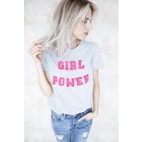 GIRL POWER GREY/PINK - T-SHIRT