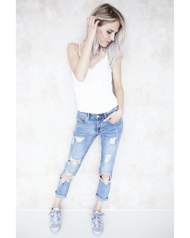 SUMMER BASIC RIPPED - JEANS