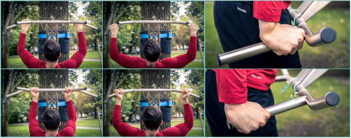 Stainless steel Pull Up bar grip positions