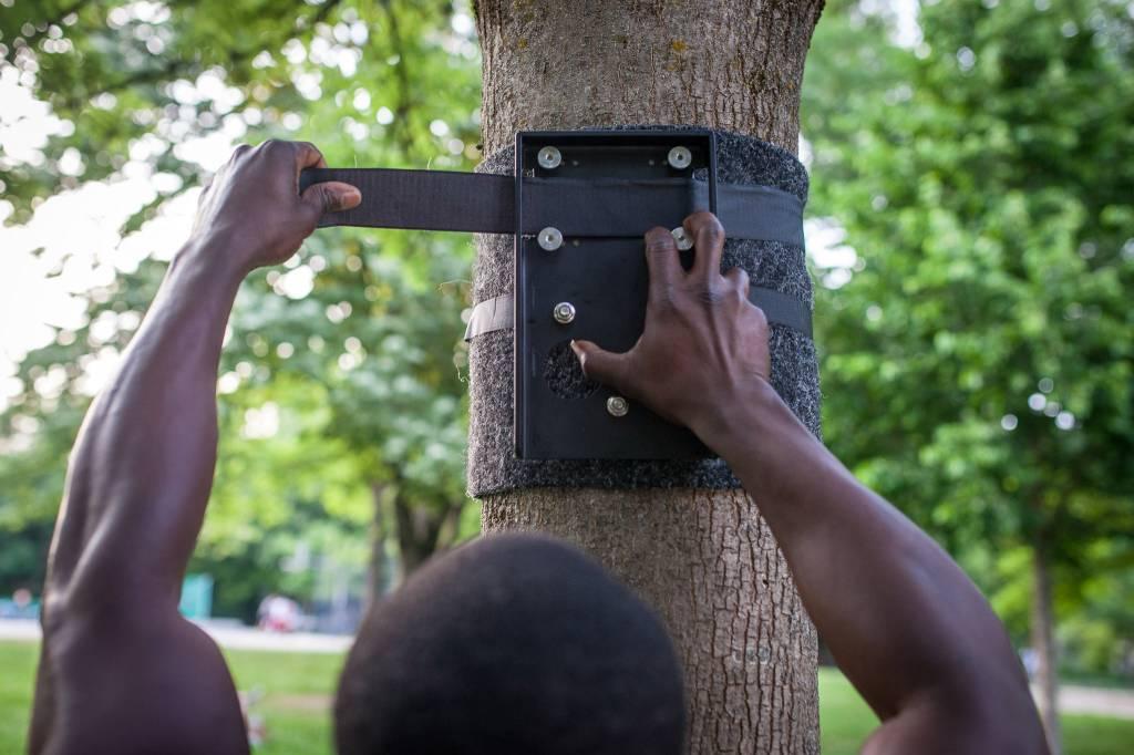 Outdoor Befestigungspaket als Erweiterung für die outdoor Montage an Baum/Pfosten, Klimmzugstange im Außenbereich anbringen
