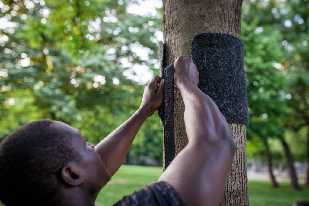 Soporte dominadas portátil, kit de montaje, para la fijación de la barra de dominadas en árboles /postes al aire libre.