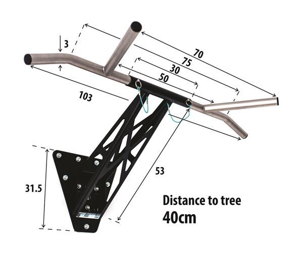 garden pull up bar dimensions