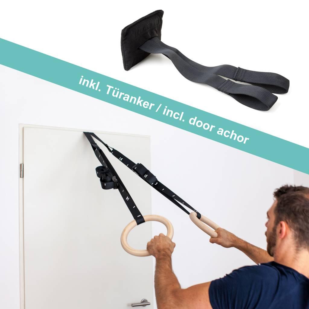 Pullup & Dip Premium Gymnastikringe/Turnringe aus Holz inkl. Tasche und Befestigungsgurten mit Markierungen sowie Türanker