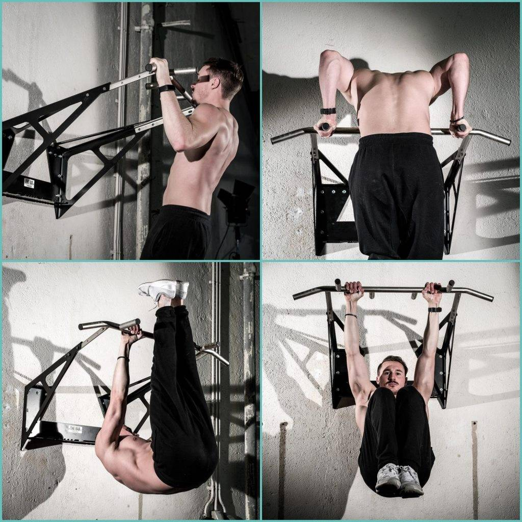 """""""THE BAR"""" wall mounted multi grip pull up bar for gyms/crossfit boxes with gym approval incl.. gym storage rack, adjustable wall distance  & stainless steel grip bar."""