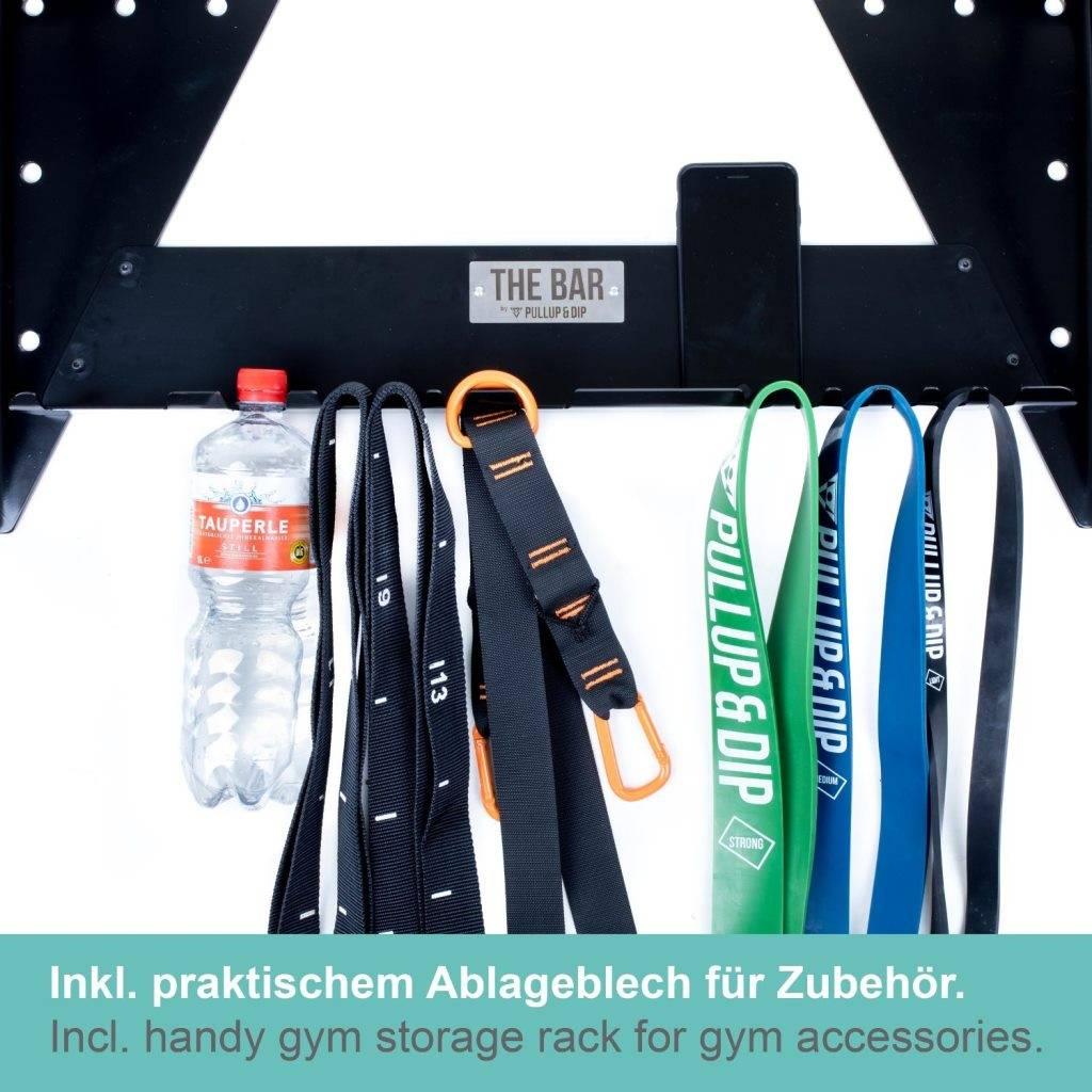 """""""THE BAR"""" Multigriff Klimmzugstange Wand und für Studio/Crossfit Box mit Studiozulassung, inkl. Ablageblech, verstellbarer Wandabstand, Edelstahl Griffstange"""
