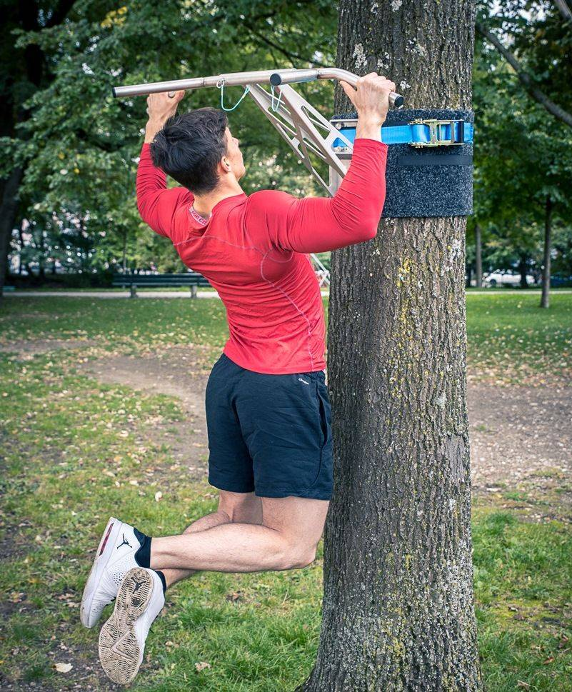 Pullup & Dip outdoor package - Portable outdoor pull-up bar/dip bar for outdoor workouts, mounting on trees & posts, over 35 exercises, premium stainless steel quality