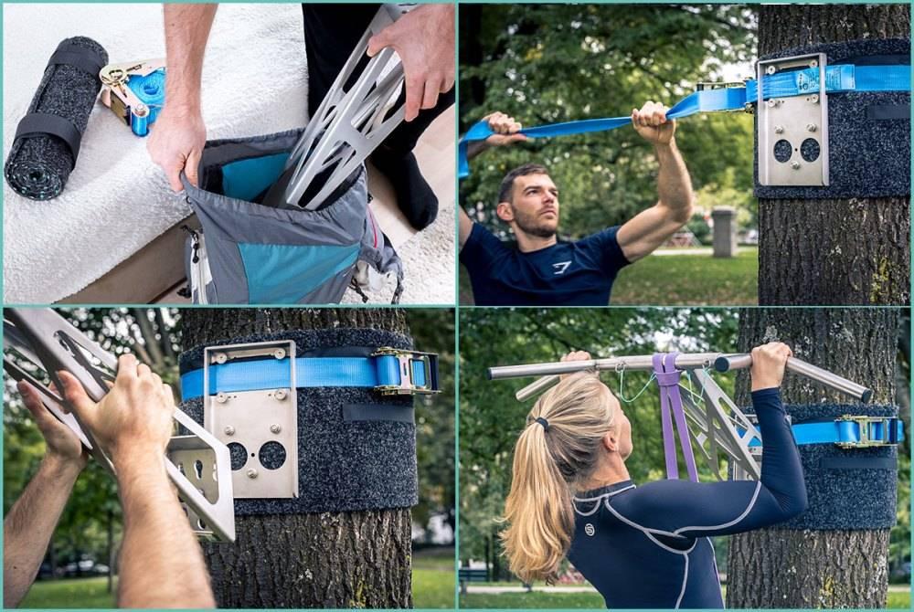 Pullup & Dip - Kit pour extérieur - Barre de traction plein air / barre de dips portable pour les entraînements extérieurs, plus de 35 exercices différents, qualité premium en acier inoxydable