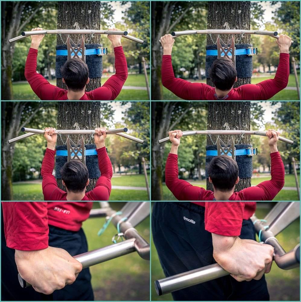 Pullup & Dip - Barra de dominadas  exteriores - transportable y fácil de armar, en acero inoxidable, con montaje para árboles /postes, y más de 35 ejercicios
