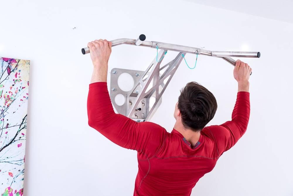 Pullup & Dip Paquete para interiores, Barra de dominadas pared/Barra de tracción en acero inoxidable para su hogar, montaje para paredes internas y externas, con más de 15 ejercicios. Calidad premium