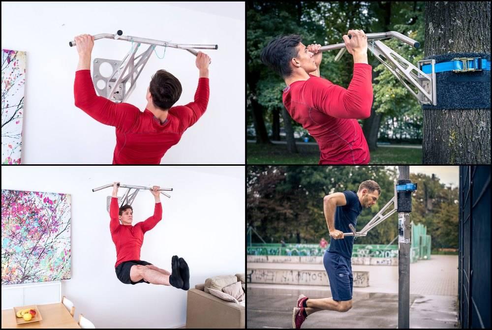 Pullup & Dip - Kit pour intérieur et extérieur - Barre de musculation portable/barre de dips pour intérieur & extérieur, plus de 35 exercices, qualité premium, acier inoxydable