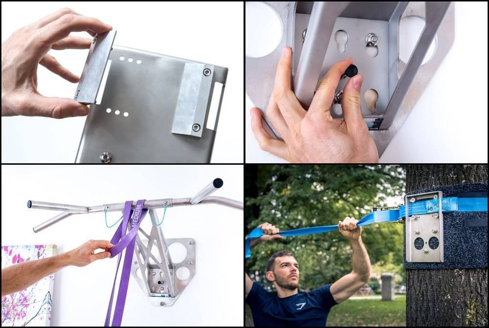 Pullup & Dip - Paquete de Interior y  Exterior - barra dominadas profesional y barra de tracción para su hogar y en el exterior, más de 35 ejercicios, de alta calidad en acero inoxidable