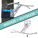 Pullup & Dip INDOOR & OUTDOOR package - Portable pull-up and dip workout bar for indoor & outdoor, over 35 exercises, premium stainless steel quality