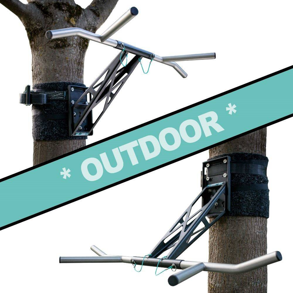 Pullup & Dip - Kit pour extérieur - Barre de traction extérieur / barre de dip portable pour les entraînements extérieurs, plus de 35 exercices différents, qualité premium acier revêtu poudré noir + acier inoxydable
