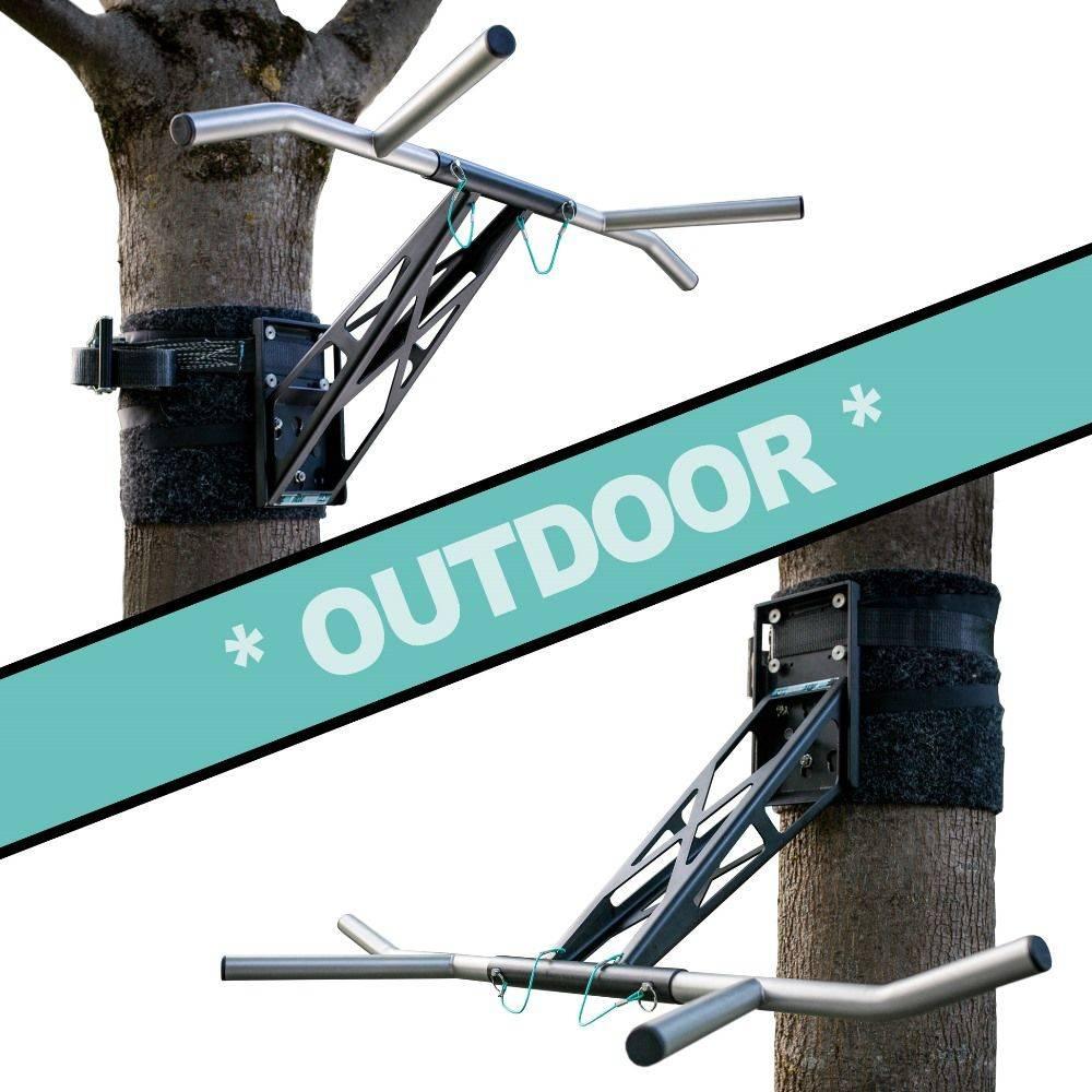 Pullup & Dip - Paquete para exteriores- Barra de ejercicios armable y fácil de transportar, para árboles /postes en el jardín o en el parque, con más de 35 ejercicios, de acero recubierto con polvo negro +acero inoxidable