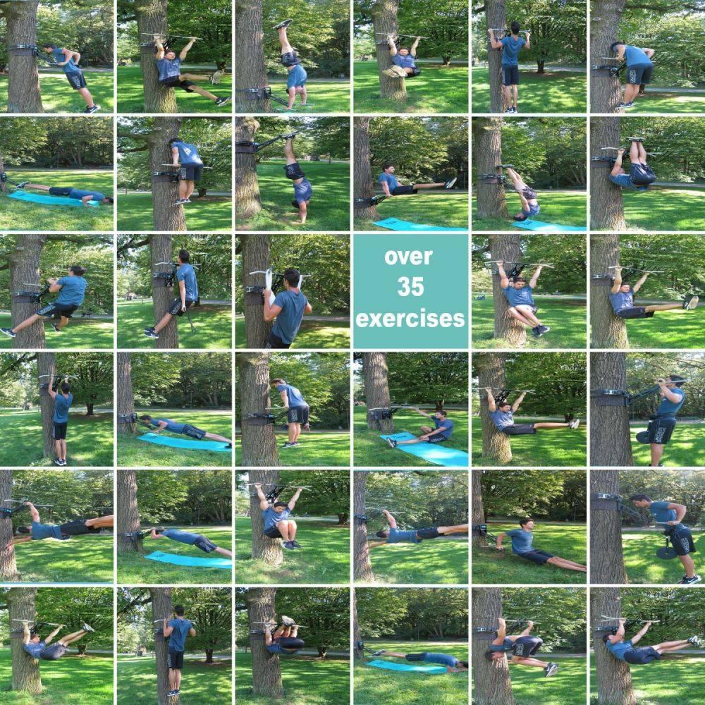 Pullup & Dip outdoor Paket - transportable & steckbare Klimmzugstange/Dip-Stange für Baum & Pfosten im Garten oder Park, über 35 Übungen, Stahl pulverbeschichtet (schwarz) + Edelstahl