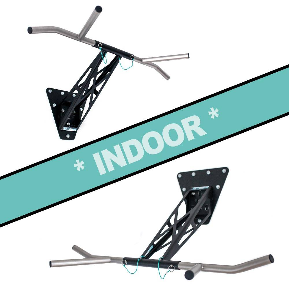 Pullup & Dip - Paquete para interiores -Barra de dominadas multifuncional de alta calidad para tu hogar, en paredes internas y externas, acero recubierto con polvo (negro) + acero inoxidable, más de 15 ejercicios.