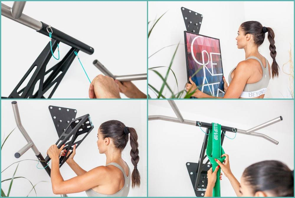 Pullup & Dip INDOOR package - home pull-up and dip bar, wall mounting on inside and outside walls, over 15 exercises, premium quality,  powder-coated steel  (black) + stainless steel