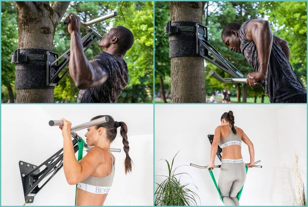 Pullup & Dip indoor & outdoor package  - Portable pull-up and dip bar/fitness bar for indoor and outdoor, over 35 exercises, premium quality, powder-coated steel (black) + stainless steel