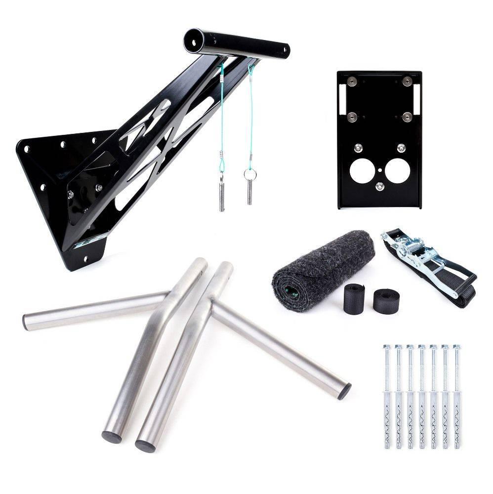 Pullup & Dip - Kit pour intérieur et extérieur - Barre de traction / barre de dips portable pour intérieur & extérieur, plus de 35 exercices, qualité premium, acier revêtu en peinture poudrée noire + acier inoxydable