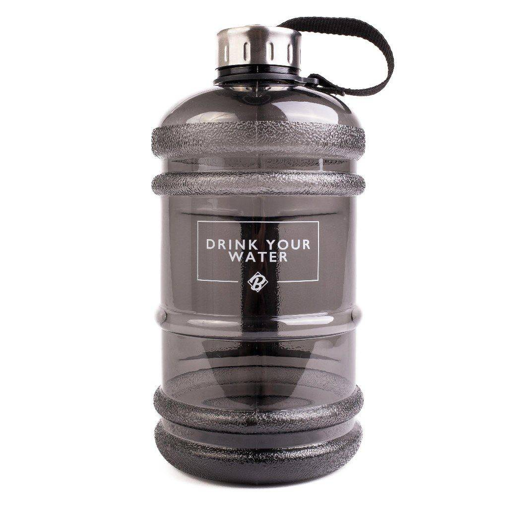 "Water bottle ""Drink Your Water"" by BROWNEY, 2.2 L gym bottle, BPA & DEHP free , black"