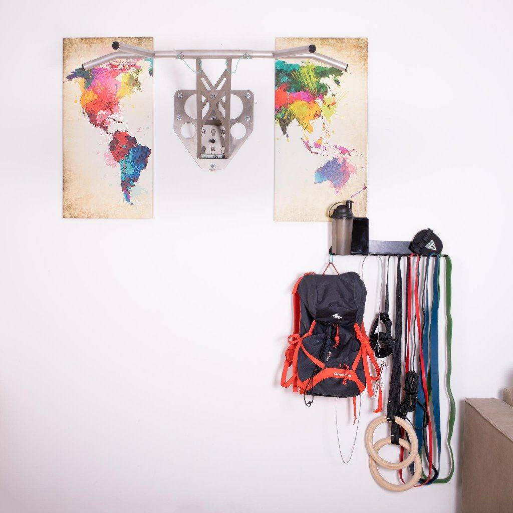 Support de rangement pour accessoires de fitness tels que les bandes élastiques, les cordes à sauter, les anneaux de gymnastique ou les entraîneurs de fronde