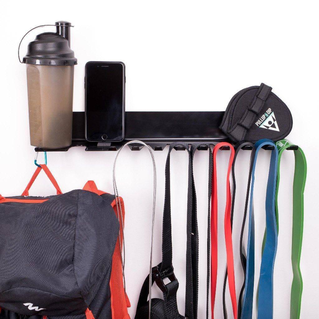 Wand Ablageblech für Fitness Zubehör wie Widerstandsbänder, Turnringe, Springseil oder Schlingentrainer