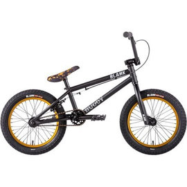 "Blank BMX Blank Buddy 16"" BMX Bike Matt Black/Gold"