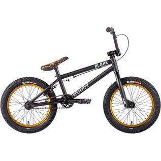 """Blank BMX Blank Buddy 16"""" BMX Bike Matt Black/Gold **Sale**"""