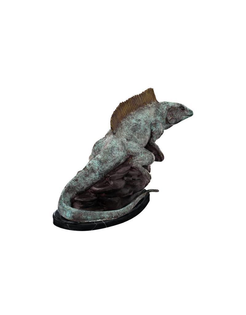 Sibilus – Leguan Skulptur auf Marmorsockel