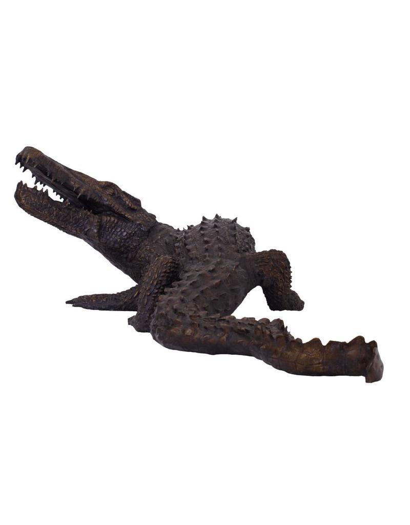 Sobek – Große Bronzeskulptur eines Krokodils