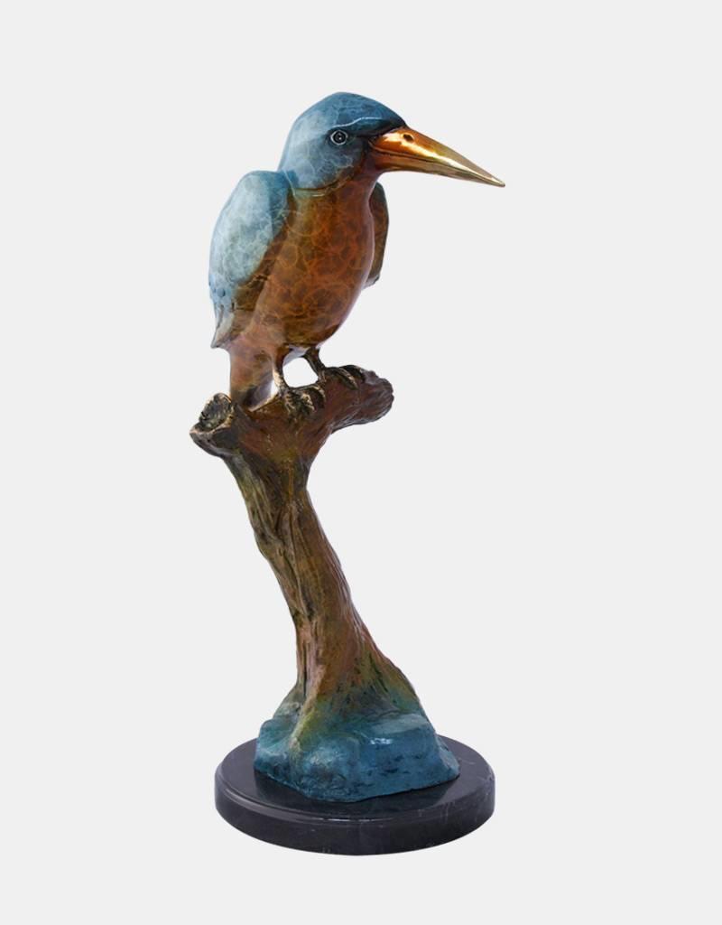 Keyx – Eisvogel Bronzefigur auf Marmorsockel