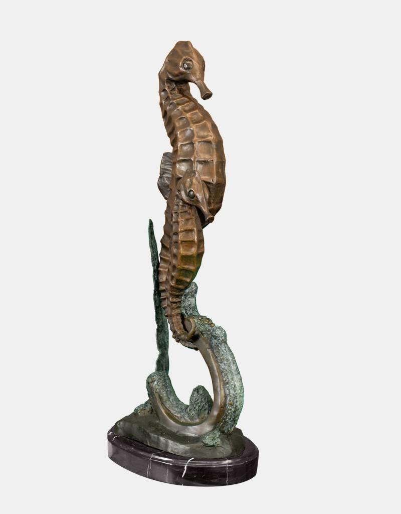 Hippokamp – Überlebensgroße Bronzeskulptur zweier Seepferdchen