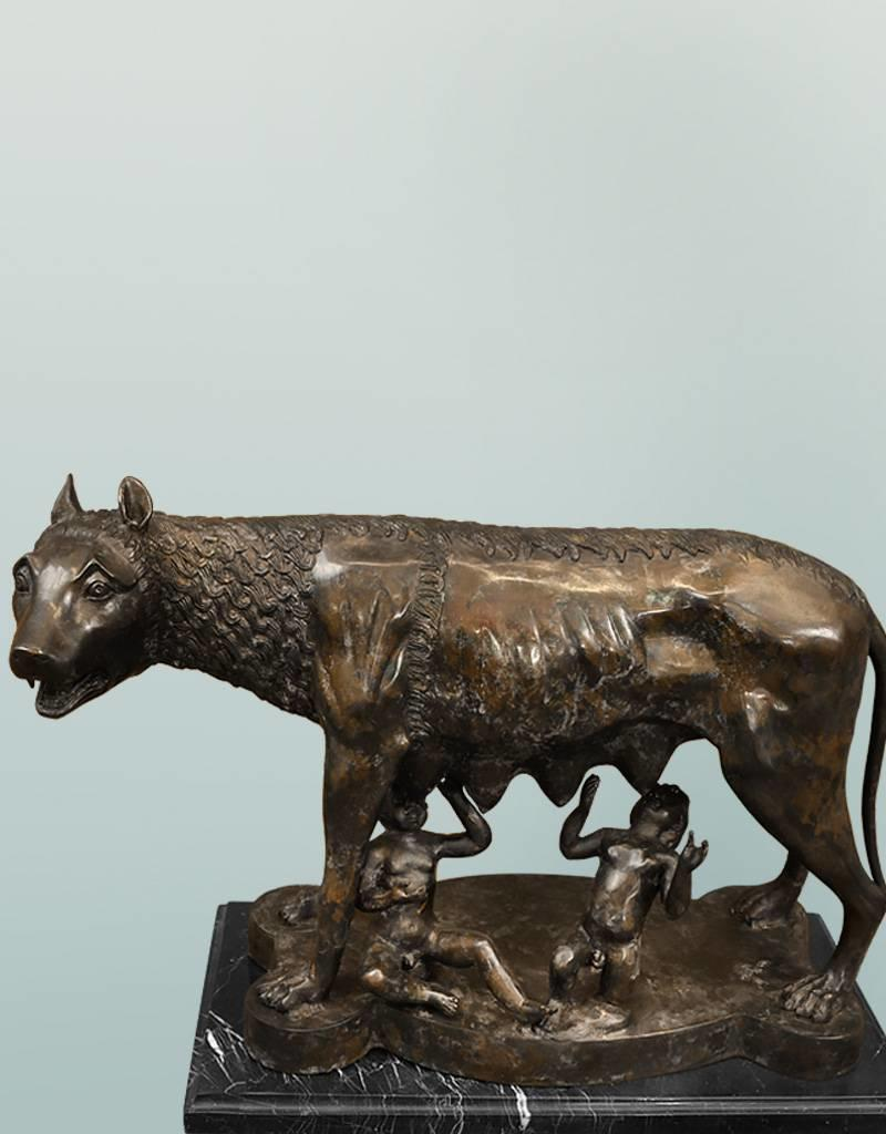 Lupa Romana – Bronzeskulptur auf Marmorsockel
