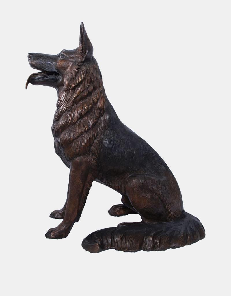 Rex – Sitzender Schäferhund Bronzefigur