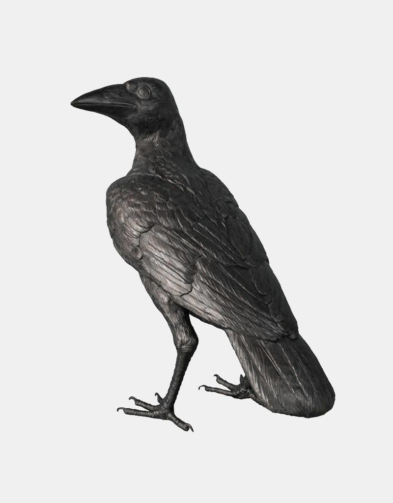 Corvus – Überlebensgroße Bronzeskulptur eines Raben