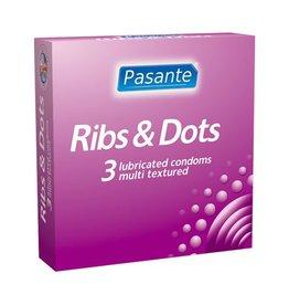 Pasante Pasante Ribs & Dots Kondome 3 Stück