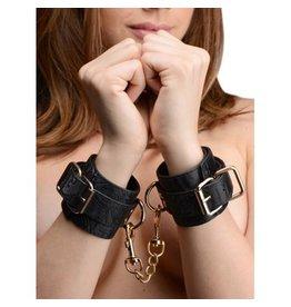 GreyGasms Handfesseln mit Stickereien in Schwarz