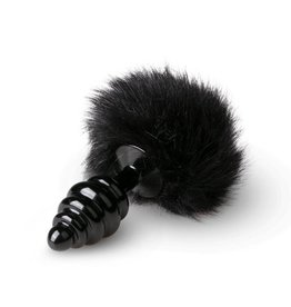 Easytoys Fetish Collection Gerippter Buttplug mit Bunny-Tail - Schwarz