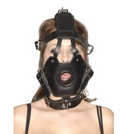 Master Series Strict Leather Premium Maulkorb mit offenem Mundknebel