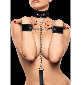 Ouch Halsband mit Klettverschluss und Handschellen - Schwarz