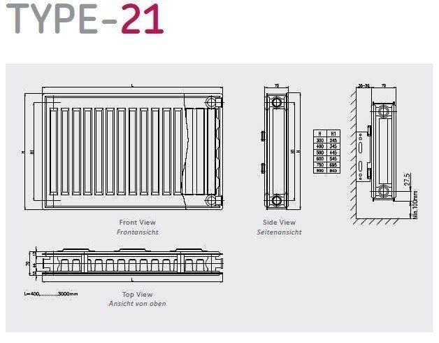 Copa Copa Konveks paneelradiator T21 H600 diverse breedte, inc. bevestigingsset,